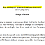 Veltyco Group becomes Bet90 Holdings